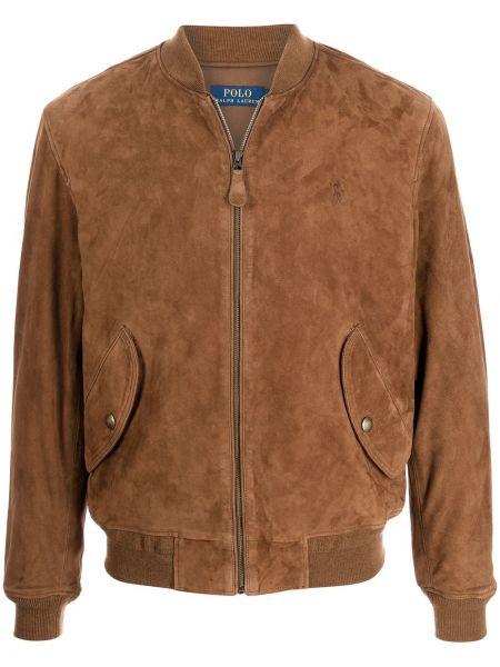 Кожаная куртка с воротником - коричневая Polo Ralph Lauren