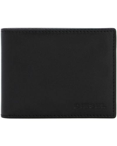 Czarny portfel z gniazdem z prawdziwej skóry wytłoczony Diesel