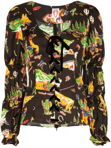Czarna bluzka koronkowa z długimi rękawami Shrimps