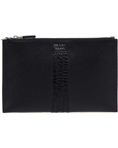 Кожаная сумка с логотипом Prada