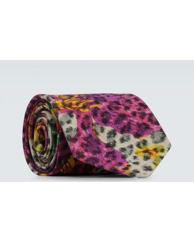 Różowy krawat bawełniany z printem Gucci