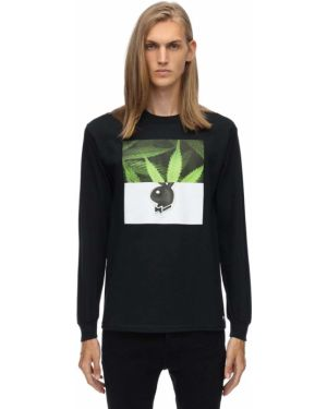 Czarny t-shirt z długimi rękawami bawełniany 1800-paradise