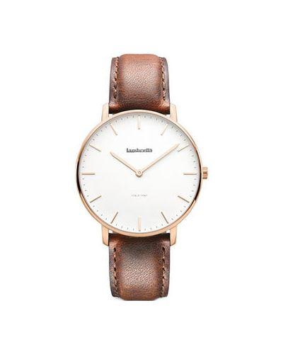 Часы с кожаным ремешком кварцевые коричневый Lambretta