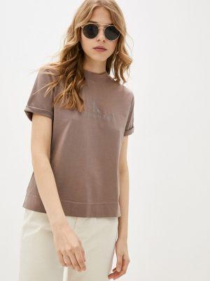 Коричневая футболка с короткими рукавами Calvin Klein Jeans
