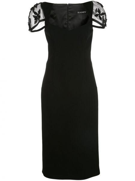 Черное приталенное платье миди с вырезом на молнии Haney