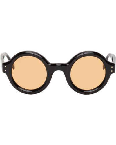 Бархатные желтые солнцезащитные очки круглые Gucci