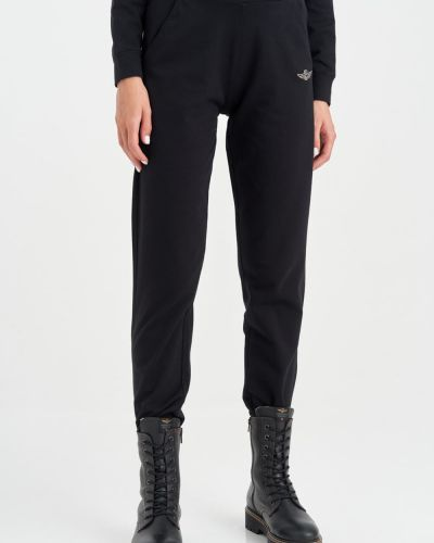 Черные широкие брюки Aeronautica Militare