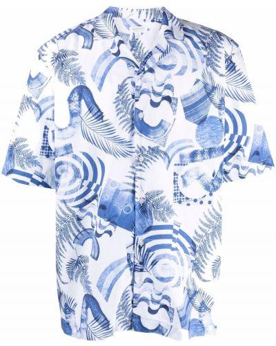 Белая рубашка с принтом Sunspel