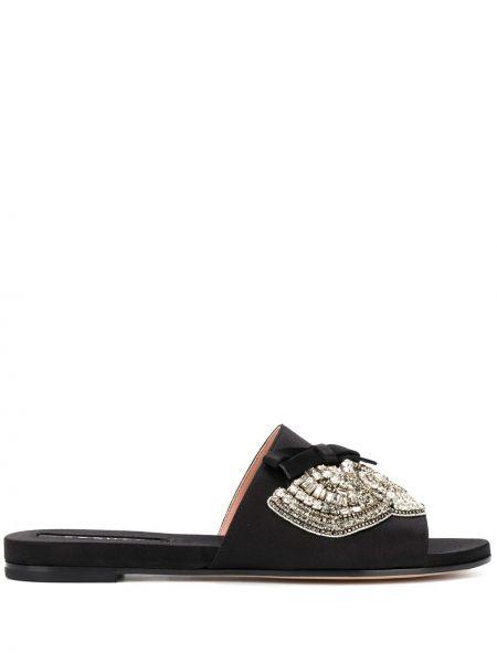 Czarne sandały skorzane Rochas
