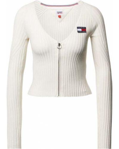 Biały sweter z dekoltem w serek Tommy Jeans