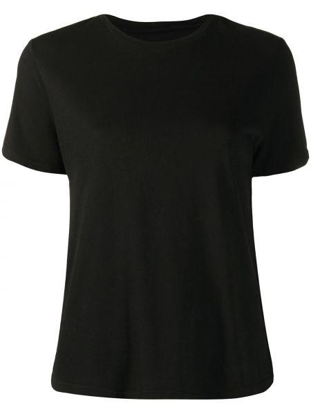 Прямая черная футболка с круглым вырезом круглая Raquel Allegra