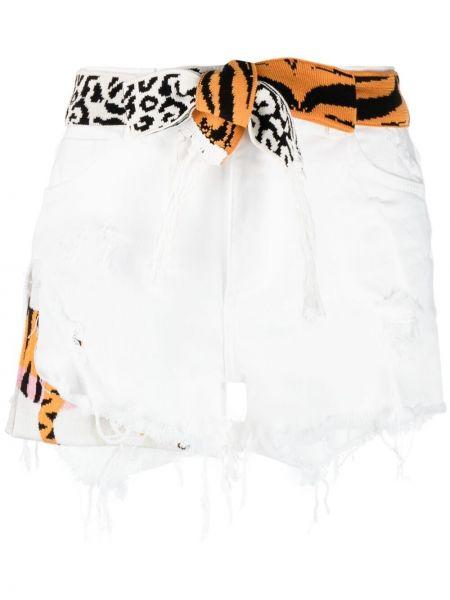 Хлопковые белые шорты на молнии Laneus