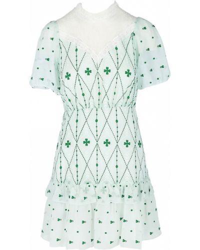 Кружевное белое купальное платье с короткими рукавами Sandro