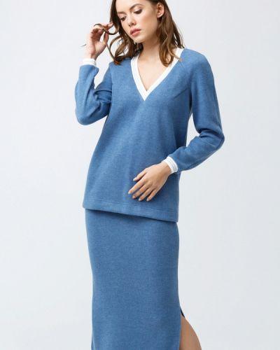 Синий вязаный юбочный костюм Oks By Oksana Demchenko