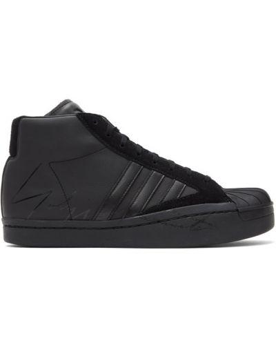 Czarny wysoki sneakersy z prawdziwej skóry zasznurować okrągły Y-3