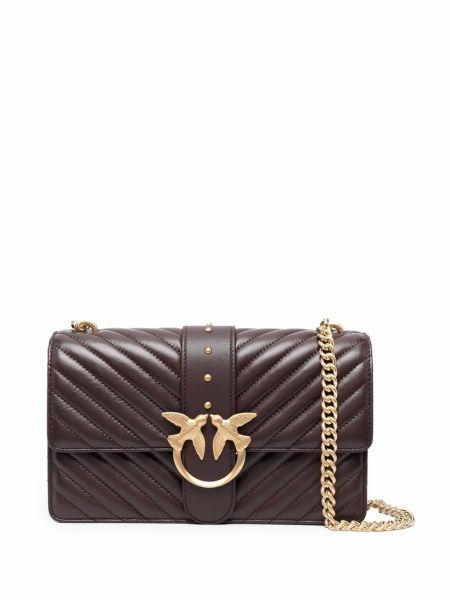 Złota torebka na łańcuszku - fioletowa Pinko