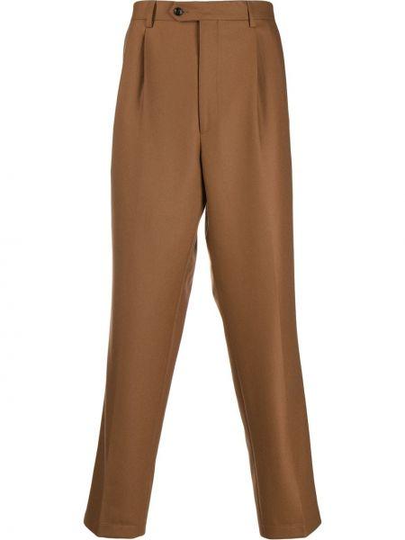 Brązowe spodnie wełniane z paskiem Lc23