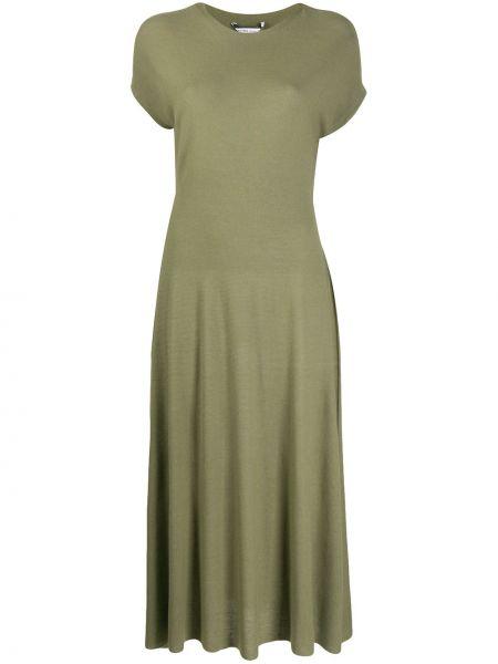 Трикотажное платье миди - зеленое Agnona