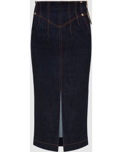 Синяя юбка миди с разрезом Versace Jeans Couture