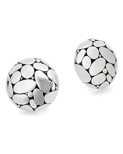 Серебряные серьги-гвоздики на кнопках John Hardy