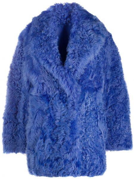 Синее кожаное пальто на пуговицах с лацканами из овчины Off-white