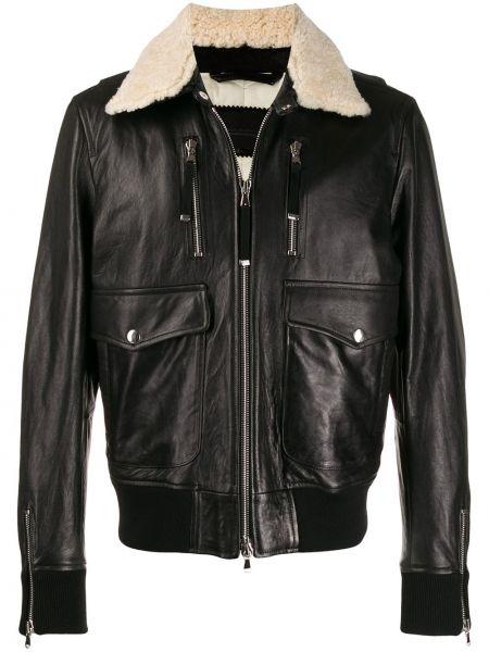 Czarna kurtka jeansowa skórzana z długimi rękawami Diesel Black Gold