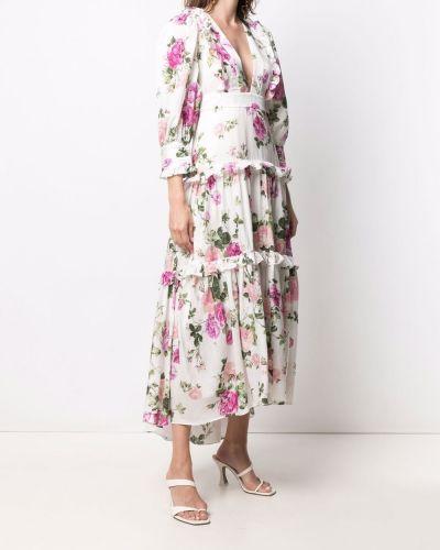 Шелковое белое платье макси в цветочный принт Loveshackfancy