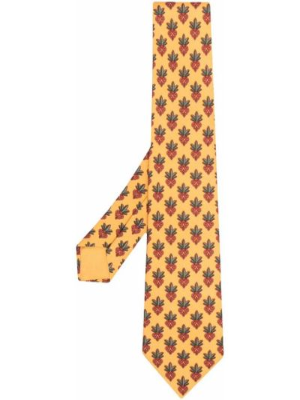 Желтый галстук жаккардовый Hermes