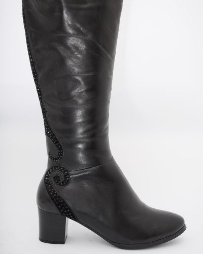 Сапоги на каблуке - черные Erisses