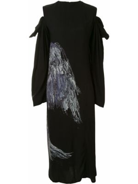 Платье миди на молнии с открытыми плечами Yohji Yamamoto