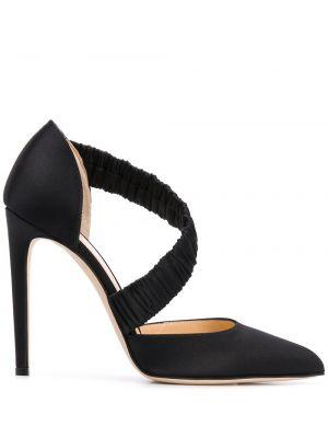 Шелковые черные кожаные туфли с тиснением Chloe Gosselin