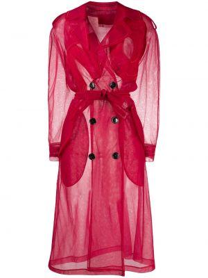 Красное пальто с капюшоном двубортное Viktor & Rolf