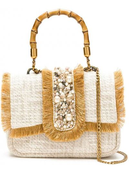 Золотистая сумка на цепочке с бахромой с карманами Isla
