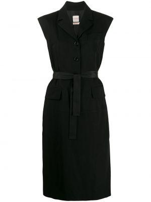 Прямое шелковое черное платье миди Zanini