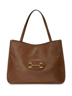 Brązowy bawełna skórzany torba na ramię z kieszeniami Gucci