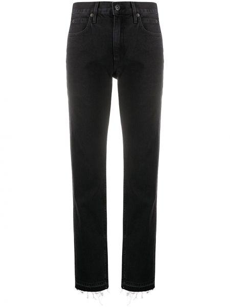 Хлопковые черные прямые джинсы с карманами на пуговицах Slvrlake