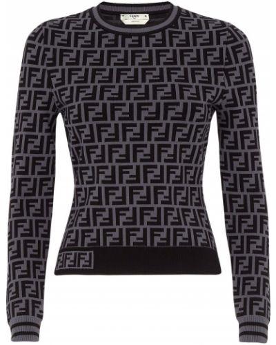 С рукавами черный вязаный джемпер из вискозы Fendi