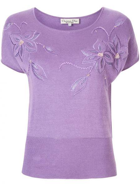 T-shirt w kwiaty - biała Christian Dior Pre-owned