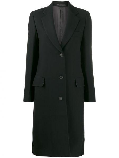 Шерстяное черное длинное пальто с капюшоном Paul Smith