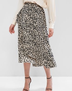 Юбка леопардовая с цветочным принтом Zaful