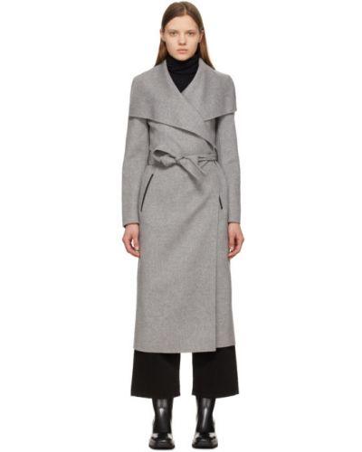Черное кожаное длинное пальто с воротником Mackage