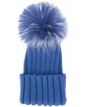 Синяя шерстяная шапка эластичная с отворотом Catya Kids