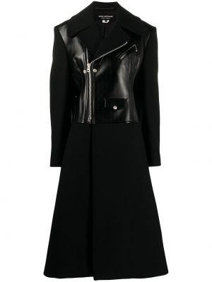 Шерстяное черное длинное пальто с лацканами Junya Watanabe