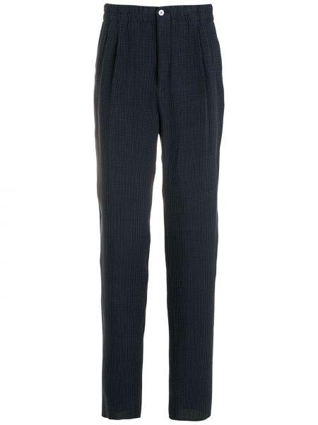 Niebieskie spodnie z wiskozy Giorgio Armani