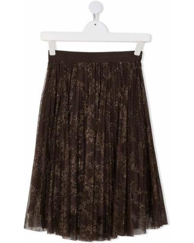 Коричневая юбка из фатина с поясом Ermanno Scervino Junior