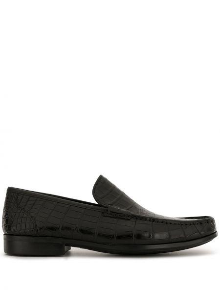 Черные лоферы из крокодила на каблуке без застежки Magnanni