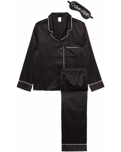 Czarna satynowa piżama z haftem Calvin Klein