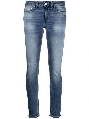 Хлопковые синие джинсы с нашивками Dondup