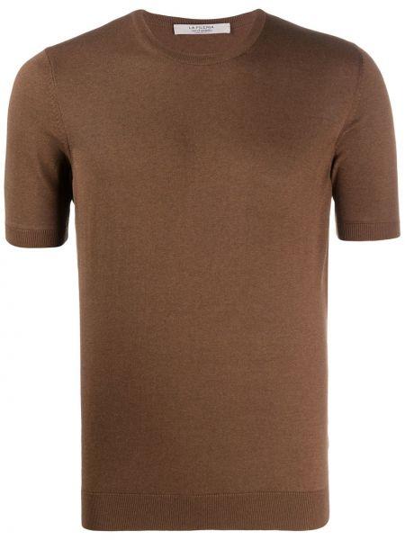 Коричневая прямая рубашка с короткими рукавами La Fileria For D'aniello