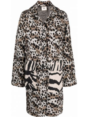 Коричневое пальто с карманами Semicouture
